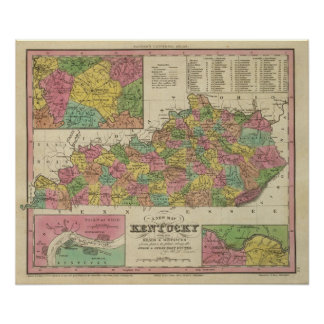 New Map Of Kentucky Poster