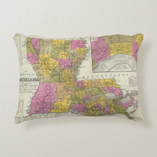 New Map Of Louisiana 3 Accent Pillow
