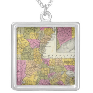 New Map Of Louisiana 3 Silver Plated Necklace