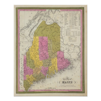 New Map of Maine 2 Poster