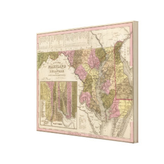 New Map Of Maryland and Delaware 2 Stretched Canvas Prints