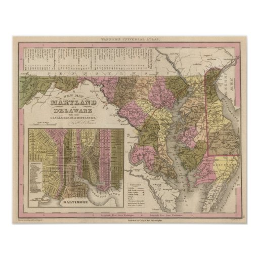 New Map Of Maryland and Delaware Poster