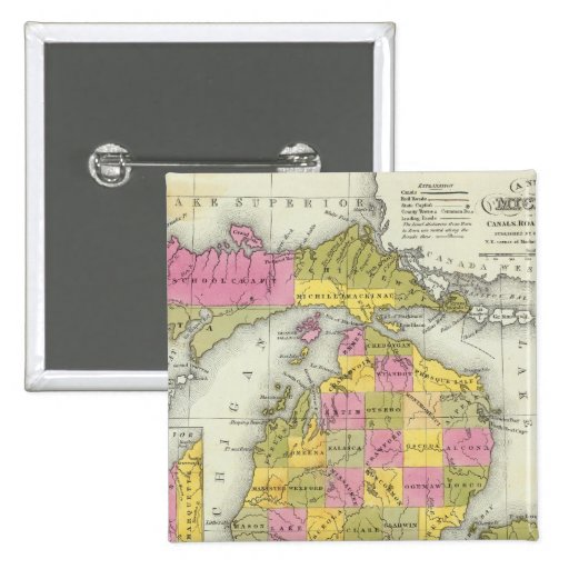 New Map Of Michigan 2 Button