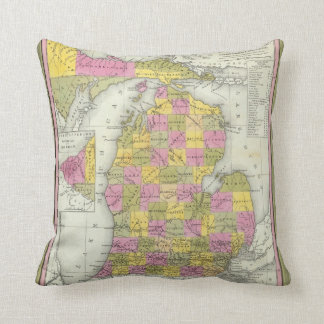 New Map Of Michigan 2 Throw Pillow