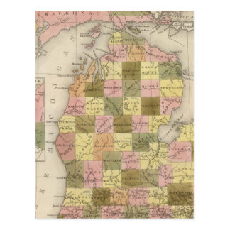 New Map Of Michigan Postcard