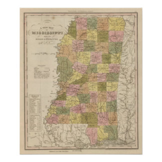 New Map Of Mississippi 2 Poster