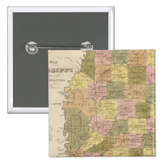 New Map Of Mississippi Pinback Button