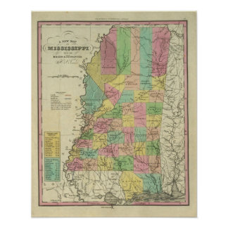 New Map Of Mississippi Poster