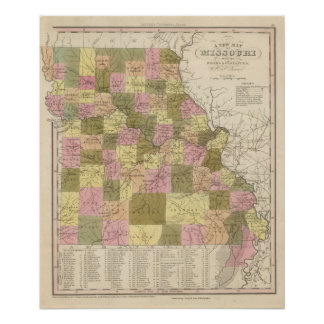 New Map Of Missouri 2 Poster