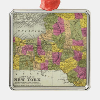 New Map Of New York 2 Metal Ornament