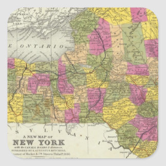 New Map Of New York 2 Square Sticker