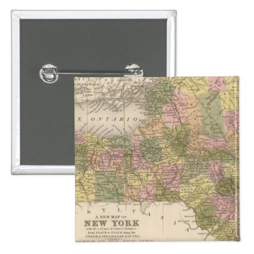 New Map Of New York Button