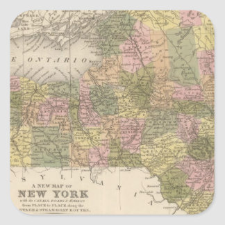 New Map Of New York Square Sticker