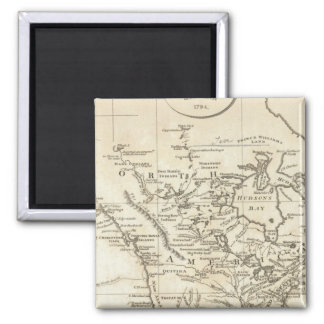New Map of North America 2 Inch Square Magnet