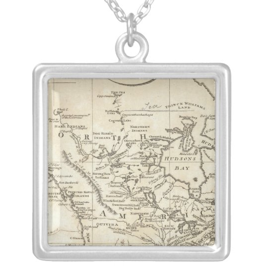 New Map of North America Silver Plated Necklace