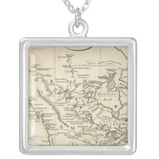 New Map of North America Square Pendant Necklace