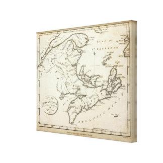 New Map of Nova Scotia, New Brunswick Stretched Canvas Print