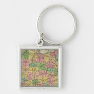 New Map Of Ohio 2 Silver-Colored Square Keychain