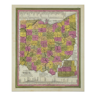 New Map Of Ohio Poster