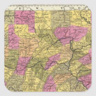 New Map Of Pennsylvania 2 Square Sticker