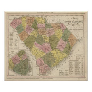 New Map Of South Carolina 2 Posters