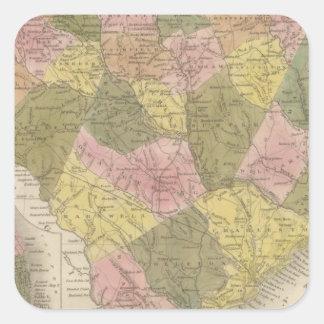 New Map Of South Carolina 2 Square Sticker