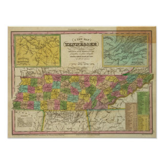 New Map Of Tennessee 2 Poster