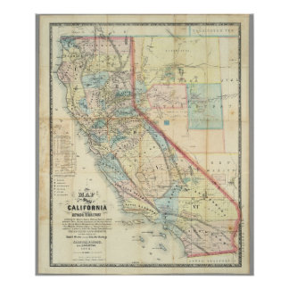 New Map of the State of California Poster