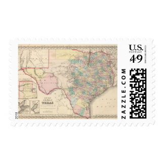 New Map of the State of Texas Postage Stamps