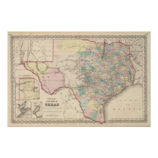 New Map of the State of Texas Poster