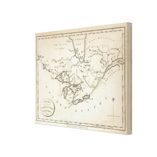 New Map of Upper & Lower Canada Canvas Print