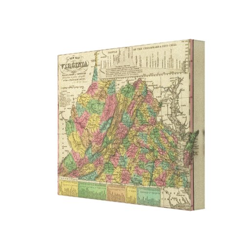 New Map Of Virginia Canvas Print
