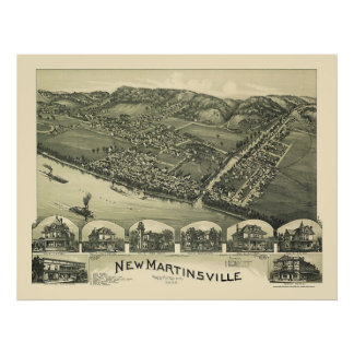 New Martinsville, WV Panoramic Map - 1899 Poster