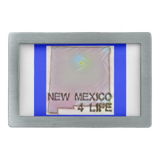 """""""New Mexico 4 Life"""" State Map Pride Design Rectangular Belt Buckle"""