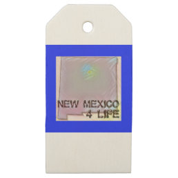 """New Mexico 4 Life"" State Map Pride Design Wooden Gift Tags"