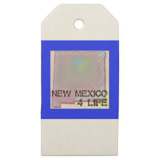 """""""New Mexico 4 Life"""" State Map Pride Design Wooden Gift Tags"""