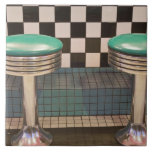 New Mexico, Albuquerque. The 66 Diner along Large Square Tile