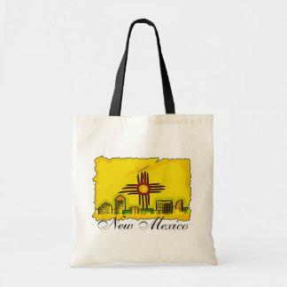 New Mexico artistic skyline flag reusable bag