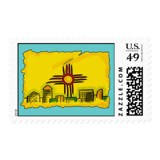 New Mexico artistic skyline state flag stamps