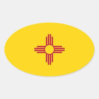 New México/bandera mexicana del estado (Zia), Colcomanias Oval Personalizadas
