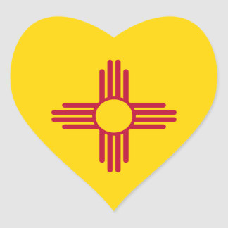 New México/bandera mexicana del estado (Zia), Pegatina En Forma De Corazón