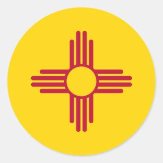 New México/bandera mexicana del estado (Zia), Pegatina Redonda