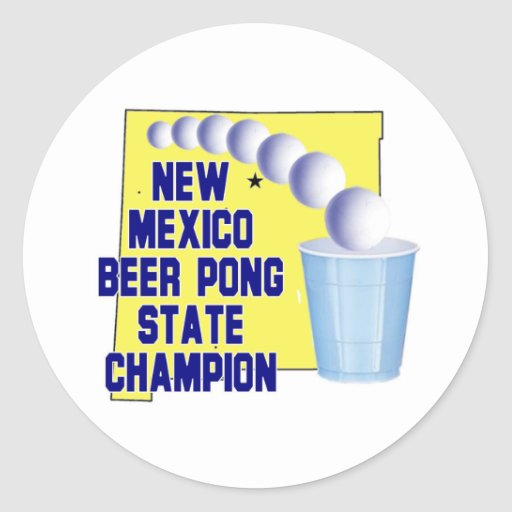 New Mexico Beer Pong Champion Classic Round Sticker