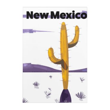 USA Themed New Mexico Cactus vintage style vacation poster. Acrylic Print