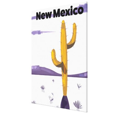 USA Themed New Mexico Cactus vintage style vacation poster. Canvas Print