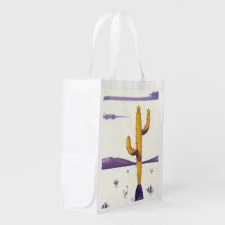 New Mexico Cactus vintage style vacation poster. Grocery Bag