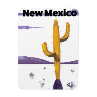 New Mexico Cactus vintage style vacation poster. Magnet