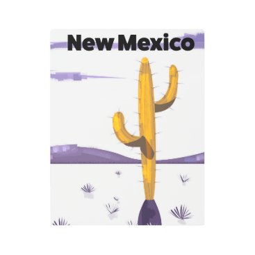 USA Themed New Mexico Cactus vintage style vacation poster. Metal Print
