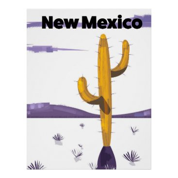 USA Themed New Mexico Cactus vintage style vacation poster. Poster