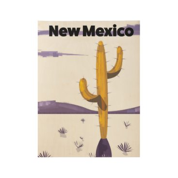 USA Themed New Mexico Cactus vintage style vacation poster. Wood Poster